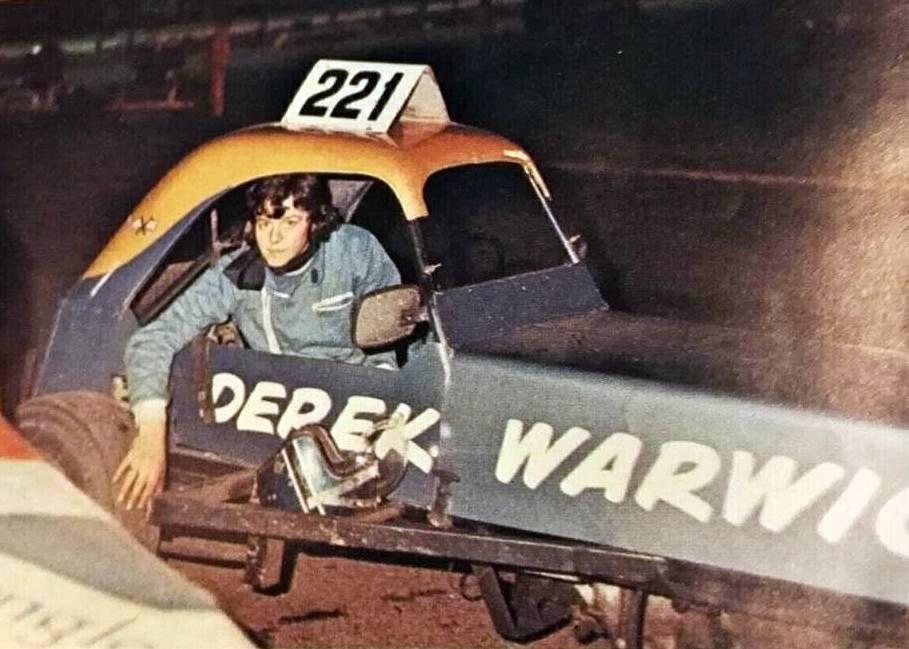 Derek Warwick with his gold top (program scan)