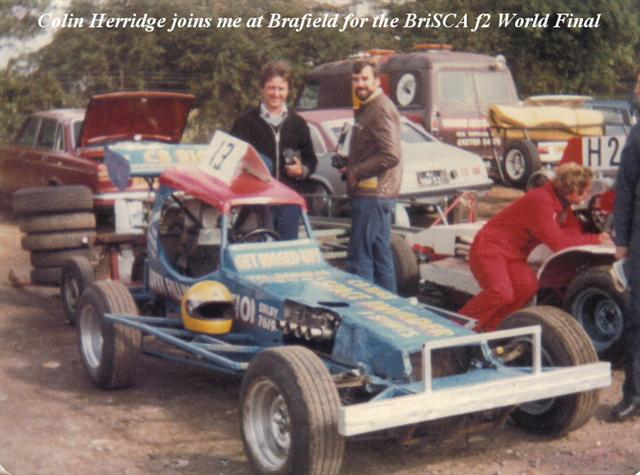 Colin Herridge and me in the Brafield pits on F2 World Final day