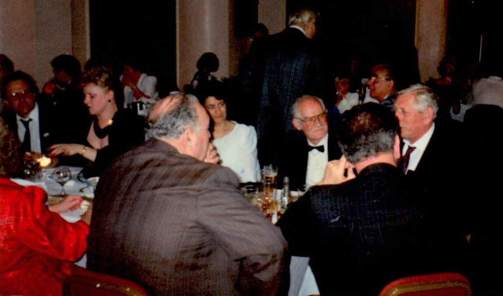 Fred Mitchell, Chick Woodroffe, Jock Lloyd.Les Eaton and Doug Wardropper (background) at the V.S.C.A  Dinner Dance
