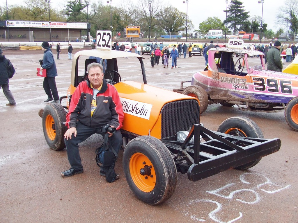 Many years later, me beside the replica of the Dave Chisholm 'Gold Top' at a Heritage event at Coventry