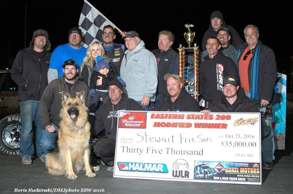 Stewart Friesen with family and crew at the Eastern States Boris Rudzinski PIC
